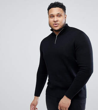 Asos DESIGN Plus Midweight Half Zip Sweater In Black