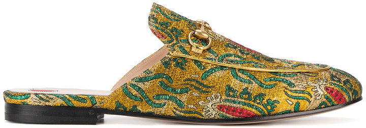 Gucci Gucci princetown metallic jacquard slippers
