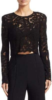 A.L.C. Talia Cropped Lace Long Sleeve Top