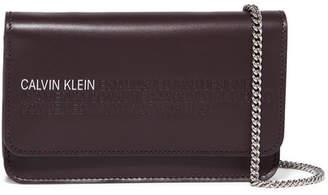 Calvin Klein Mini Embossed Leather Shoulder Bag - Burgundy
