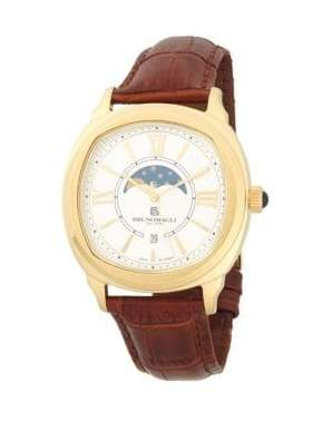 Bruno Magli Goldplated Stainless Steel Moon Phase Leather-Strap Watch