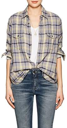 Saint Laurent Women's Plaid Cotton Flannel Shirt