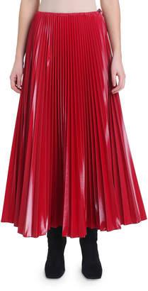 Fendi Pleated Coated Tulle Midi Skirt