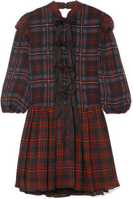 Philosophy di Lorenzo Serafini Bow-detailed Tartan Chiffon Mini Dress - Red