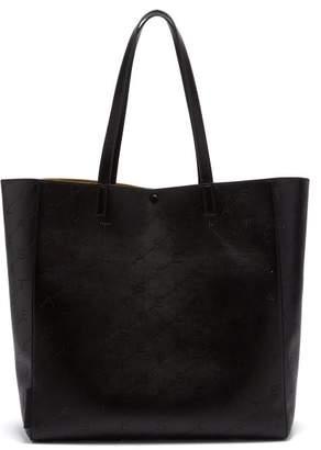 Stella McCartney Logo Pattern Faux Leather Tote - Womens - Black