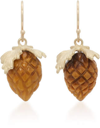 Annette Ferdinandsen 14K Gold Tiger's Eye Earrings