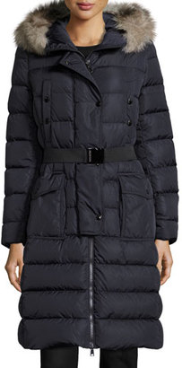Moncler Khloe Quilted Puffer Coat w/Fur Hood, Navy $1,975 thestylecure.com