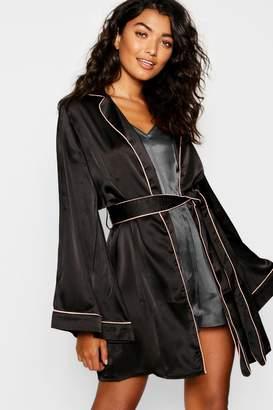 boohoo Satin Piped Kimono Robe