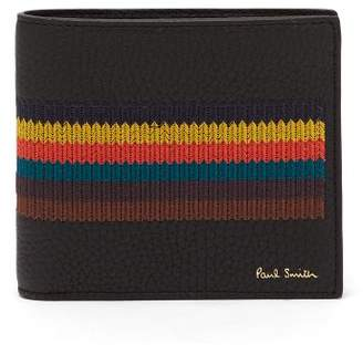 Paul Smith Bright Stripe Embroidered Bi Fold Leather Wallet - Mens - Black Multi