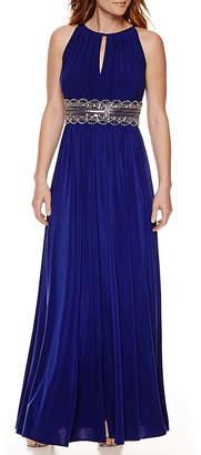 R & M Richards R&M Richards Sleeveless Beaded Formal Halter Gown