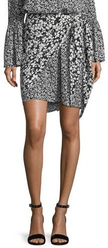 Michael Kors Collection Floral-Print Crepe de Chine Silk Pareo Skirt