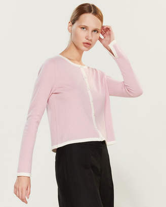 InCashmere In Cashmere Faux Pearl Button Long Sleeve Cashmere Cardigan