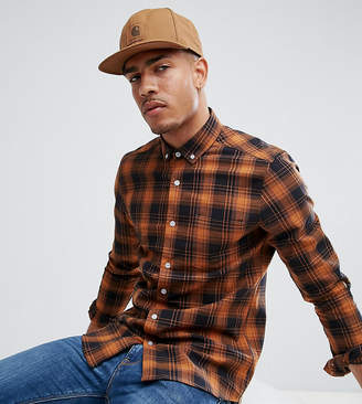 Asos Design DESIGN Tall stretch slim check shirt in orange