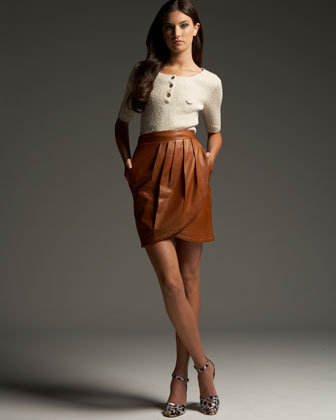 See by Chloe Leather Wrap Skirt