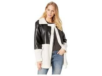 Romeo & Juliet Couture Faux Suede Aviator Jacket Women's Coat