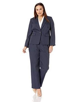 Le Suit Women's Size Plus Pinstripe 2 Button Jacket Pant Suit