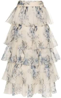 Johanna Ortiz Journey of The Soul floral print tiered silk skirt