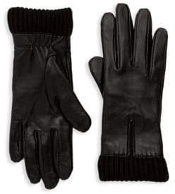 Saks Fifth Avenue Nappa Knit Cuff Gloves