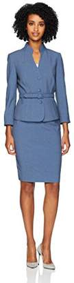 Tahari by Arthur S. Levine Women's Stand Collar 3 Button Belted 3/4 Sleeve Skirt Suit