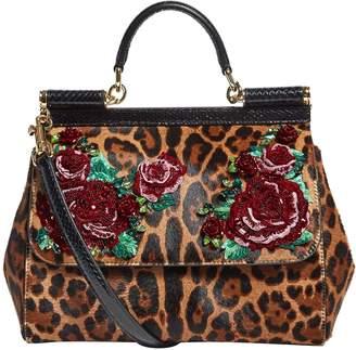 Dolce & Gabbana Large Haircalf Embellished Sicily Bag