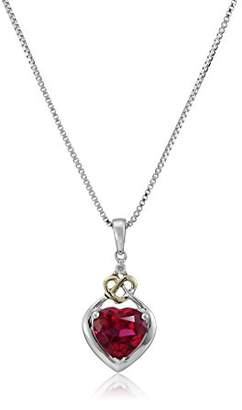 Love Knot Sterling Silver and 14k Yellow Gold Diamond and Heart-Shaped Created Ruby Pendant Necklace