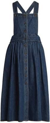 Square-neck denim apron dress