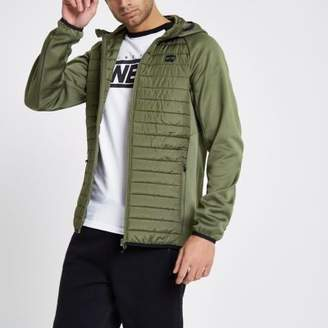 River Island Jack and Jones Core dark green quilted jacket