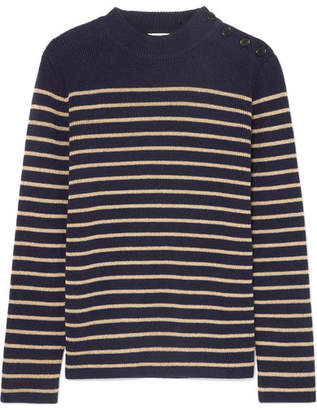 Saint Laurent Striped Wool-blend Sweater - Navy