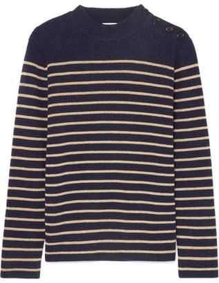 Saint Laurent Striped Wool-blend Sweater - Navy