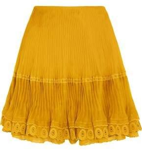 Chloé Layered Plisse Silk-organza Mini Skirt