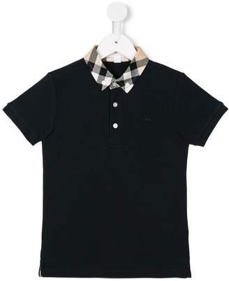Burberry Check collar and trim polo shirt