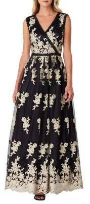 Tahari Arthur S. Levine Sleeveless Embroidered A-Line Gown