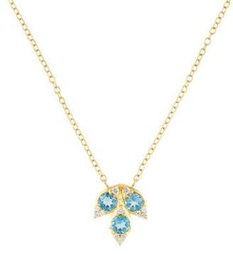 Jamie Wolf 18K Aquamarine & Diamond Leaf Pendant Necklace