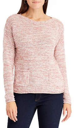 Chaps Petite Marled Boat Neck Sweater