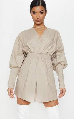 PrettyLittleThing Stone Plunge Ruched Shirt Dress