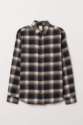 H&M Flannel shirt Regular Fit - Beige