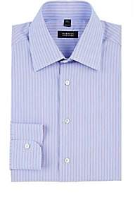 Barneys New York MEN'S STRIPED COTTON POPLIN DRESS SHIRT-LT. BLUE SIZE 16.5 L