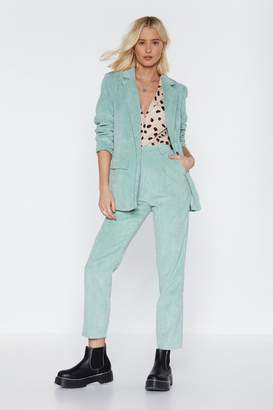 Nasty Gal Womens Suit Up Tapered Corduroy Trousers - Green - 10