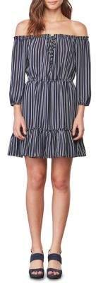 BB Dakota Stripe Off-Shoulder Peasant Dress