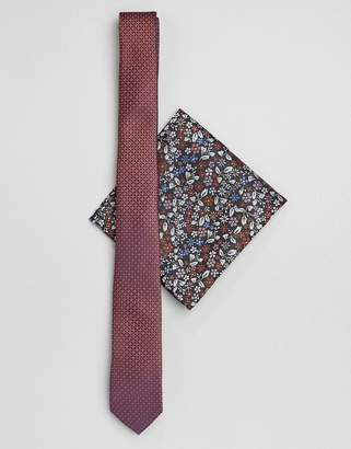 Asos DESIGN slim textured wedding tie in rust with floral pocket square