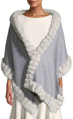 Gorski Wool Rabbit-Fur Trim Stole