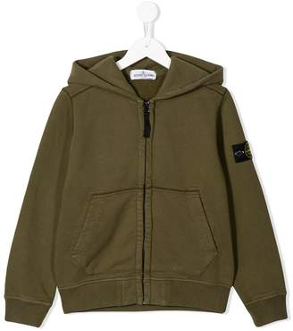 Stone Island Junior logo zipped hoodie