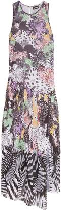 Just Cavalli Pleated Printed Crepe De Chine Gown