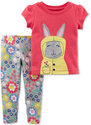 Carter's 2-Pc. Bunny Top & Floral-Print Leggings Set, Baby Girls