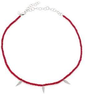 Meira T Diamond Dagger Beaded Choker - Ruby Silver