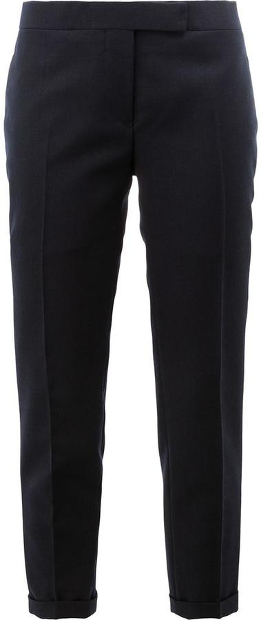 Thom Browne Lowrise Skinny Trousers In Navy 2-Ply Wool Fresco