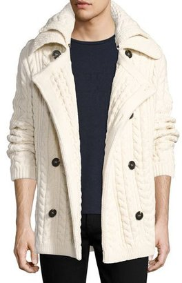 Burberry Neyland Double-Breasted Cable-Knit Cardigan $1,095 thestylecure.com