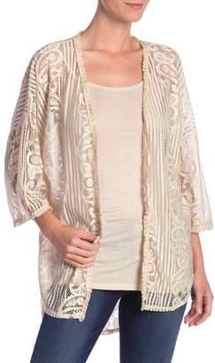 Tempo Paris Crochet Lace Cardigan & Cami Set