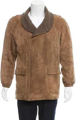 Gucci Vintage Cashmere-Trimmed Leather Jacket