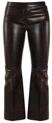Alexander McQueen Cropped Flared Leather Trousers - Womens - Black